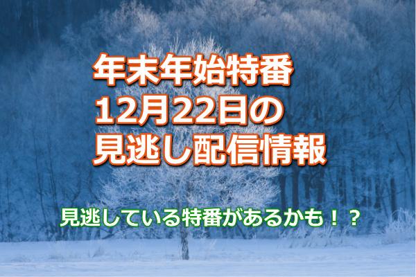 年末年始12月22日の特番見逃し配信と動画を無料で視聴する方法